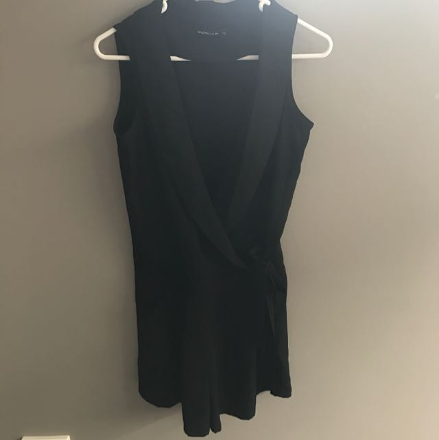 Black Low V Playsuit