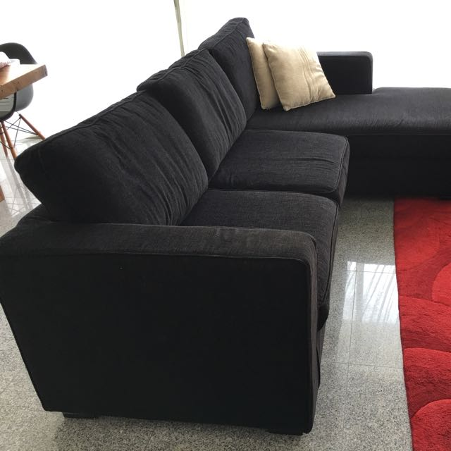 Black L-shaped Sofa, Furniture, Sofas on Carousell