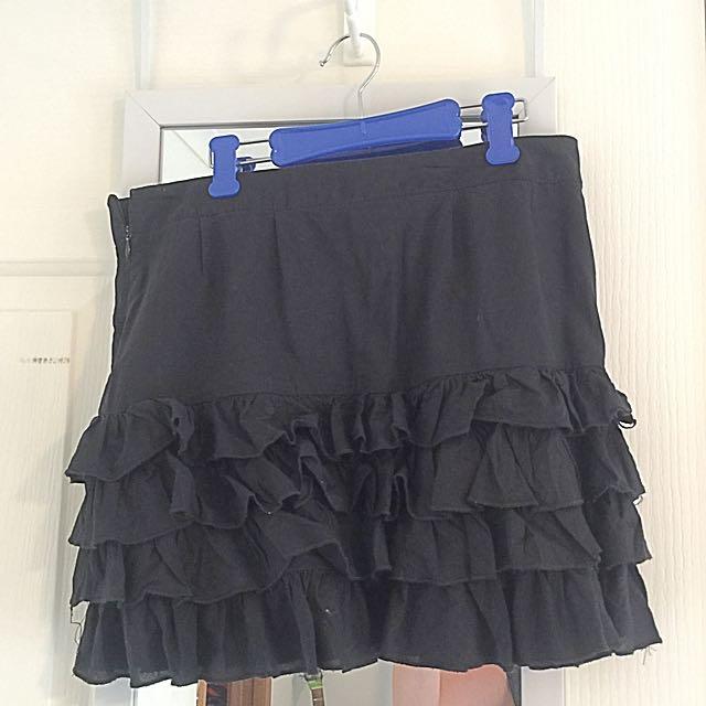 Black Mini Ruffle Skirt
