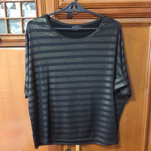 Black Top With Gold Stripes