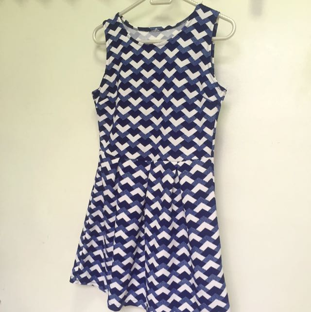 Blue printed A-line dress