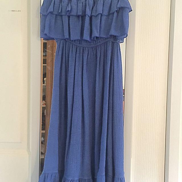 Blue Strapless Ruffle Crepe Dress