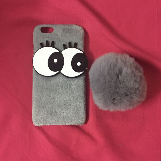 new products 9ffd5 6761f [BN] furry big eye iphone 6 phone case with fluffy ball