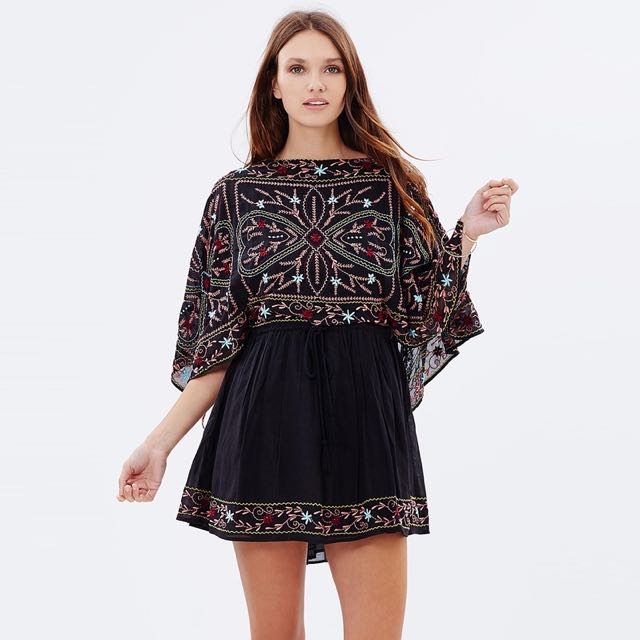 e6d22c9eed3 BNWT free people inspired sheer batiste frida embroidered dress in ...