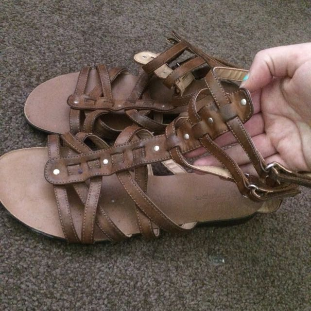 Brown Gladiator Shoes Size 9