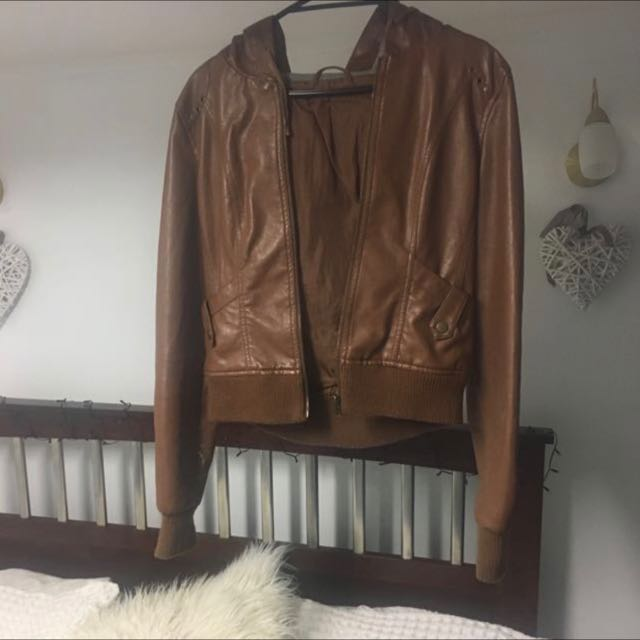 Brown Leather Jacket With Hood
