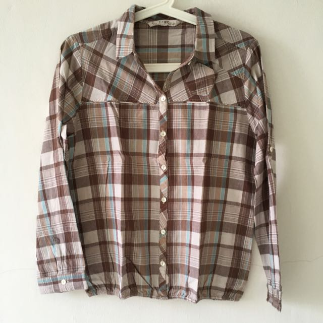 Brown Tartan Long Sleeve Shirt