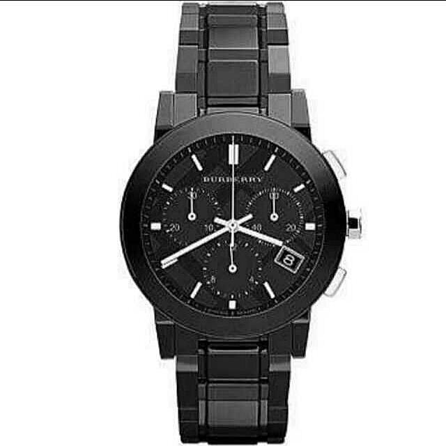 【BURBERRY】英倫陶瓷計時腕錶-黑 38mm  BU9081  免運
