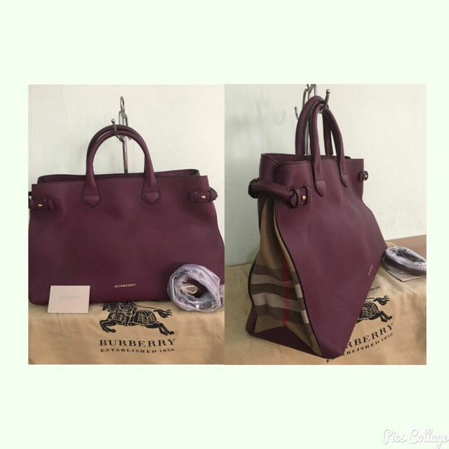Burberry Large Tote Maroon 2015