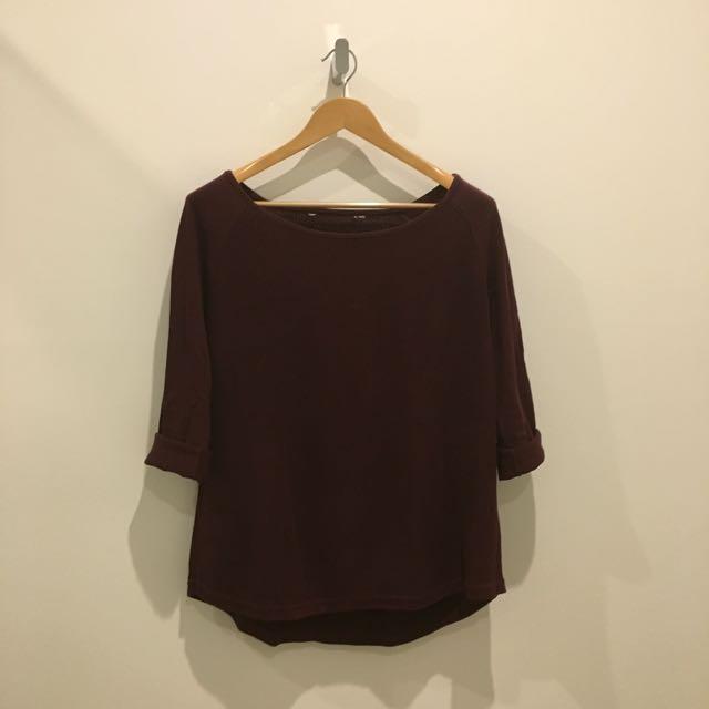 Burgundy Knit Pullover Jumper