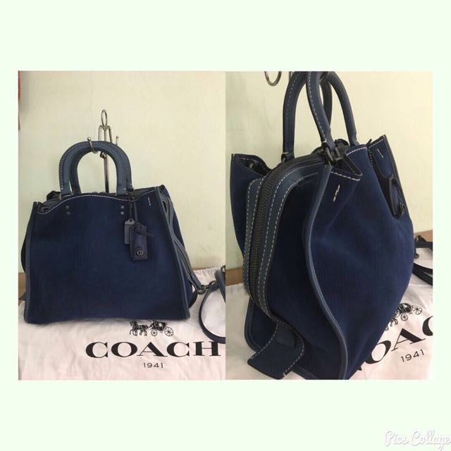 Coach Large Suede Navy 2016
