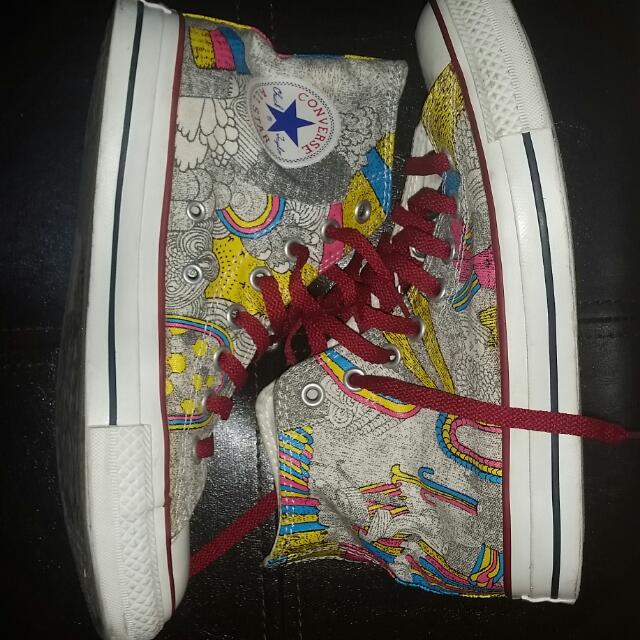 Converse High Top Sneakers JIGARAM ARTIST COLLAB SIZE 8.5 WOMENS SIZE 6.5 MENS