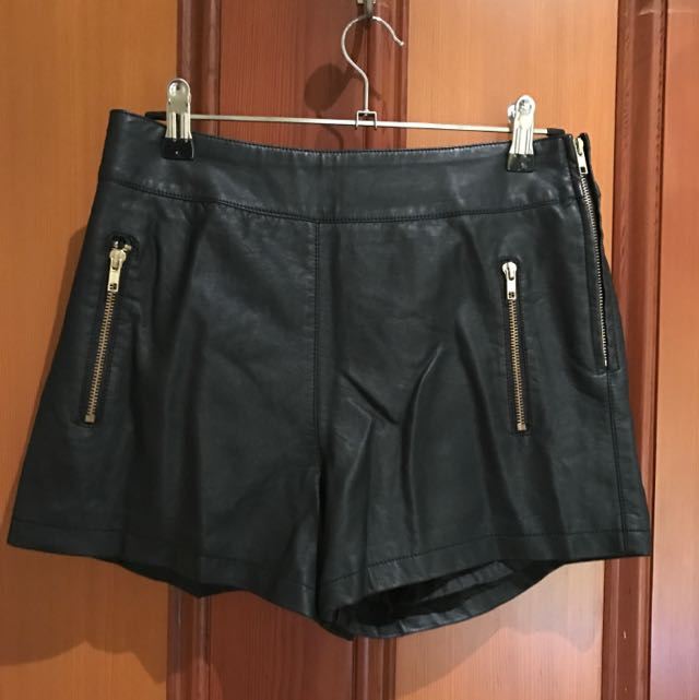 Dotti High Waisted Leather Shorts