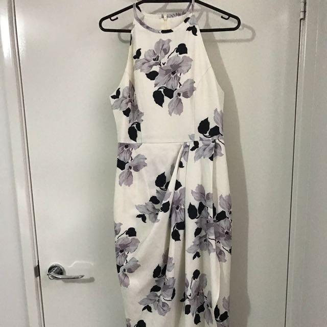 Floral White Midi Dress Sz6