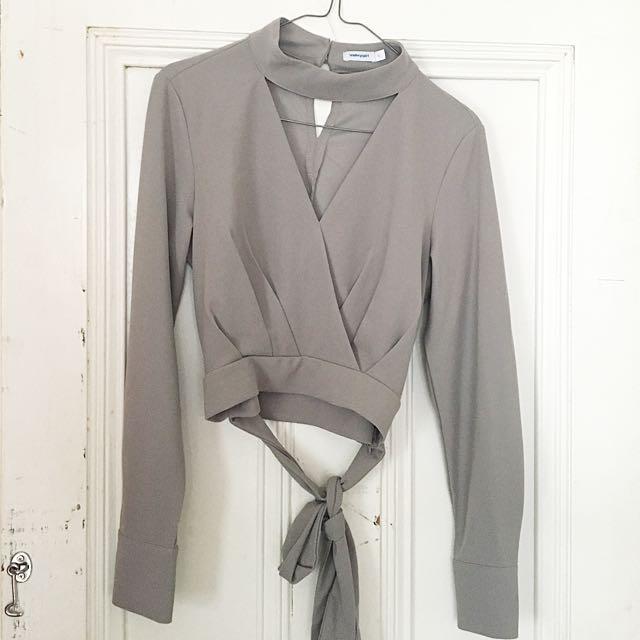 Grey Wrap Top
