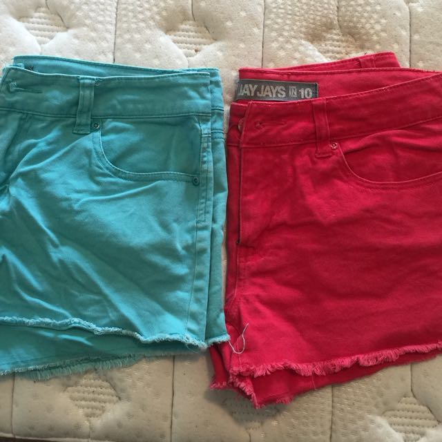Jay jays Red And Real Cut Off Denim Shorts Size 10