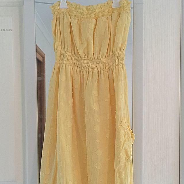 Junk Brand Yellow Pocket Strapless Cotton Dress