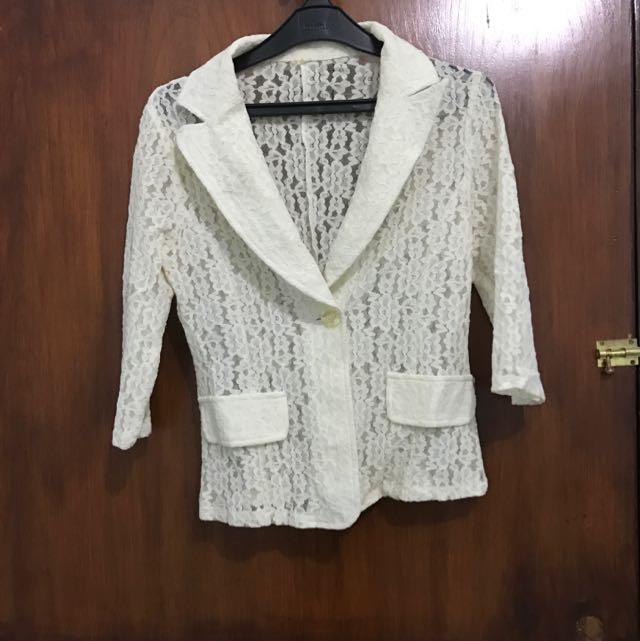 Lace Blazer Warna Off White  Size m