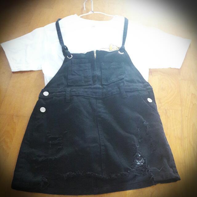 牛仔黑吊帶裙(M號)