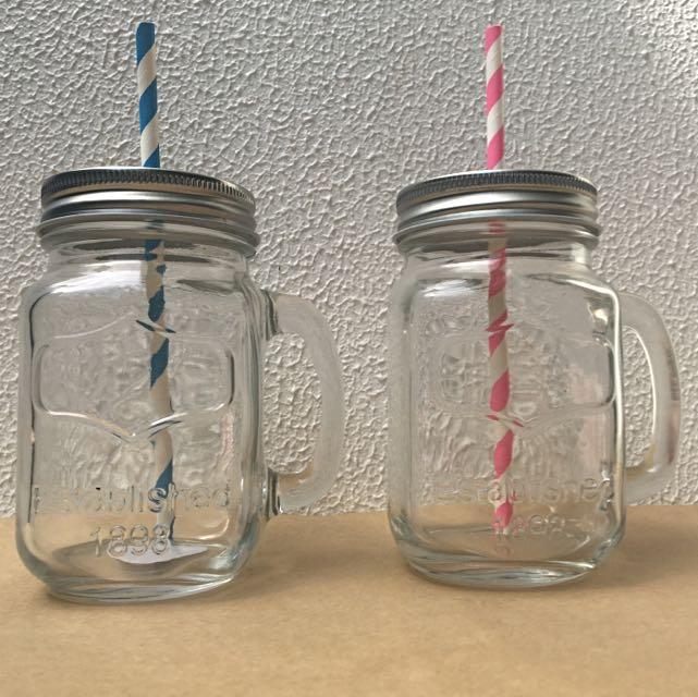 Mason Jar Mugs With Straw Holder