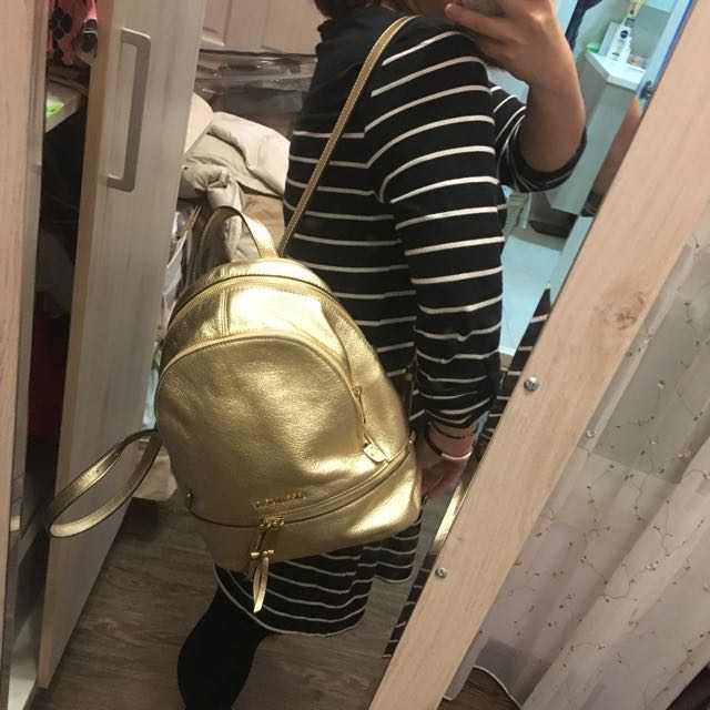 Mk 後背包Michael kors pale gold backpack 金色 coach Kate spade 可參考