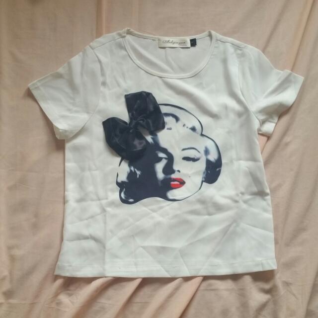 Monroe White T-shirt with Black Satin Bow
