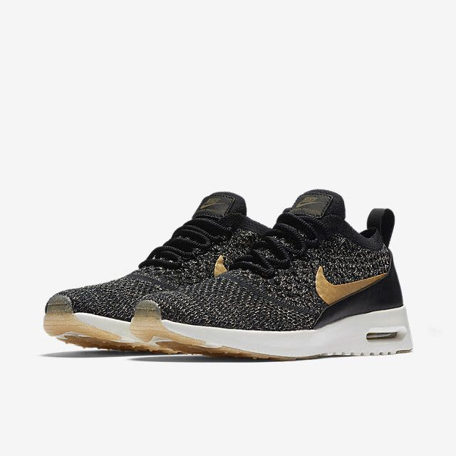 03e5db4b3471 Nike Air Max Thea Ultra Flyknit Metallic (Women) - Black Ivory ...