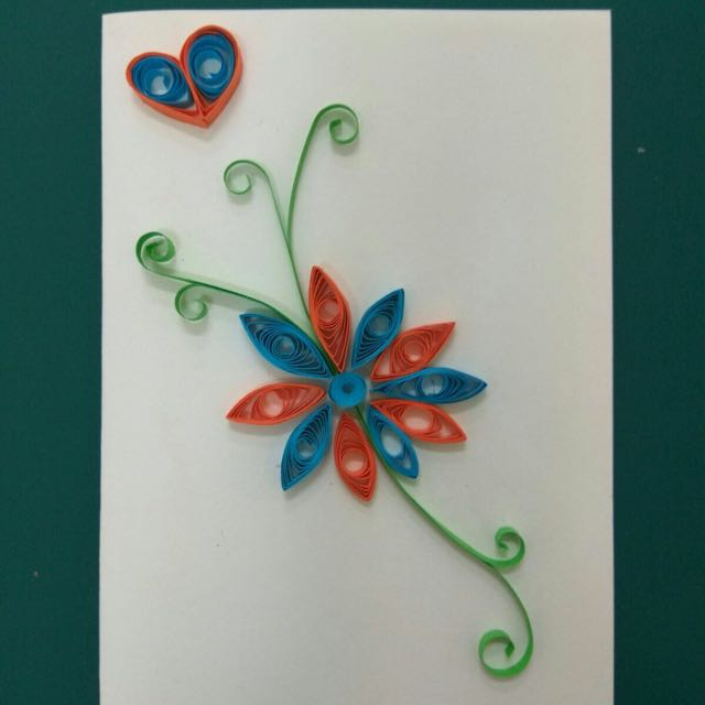 Incredible Paper Quilling Greeting Card Blue Flowers Design Craft Personalised Birthday Cards Cominlily Jamesorg
