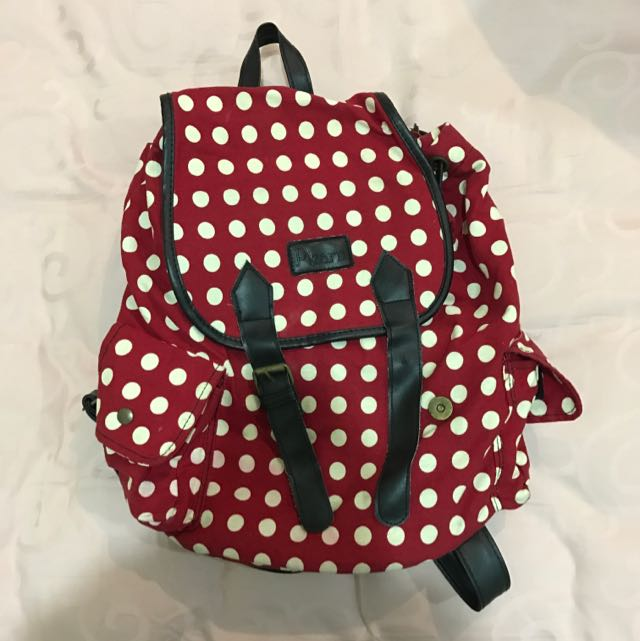 Red And White Dot Medium Backpack
