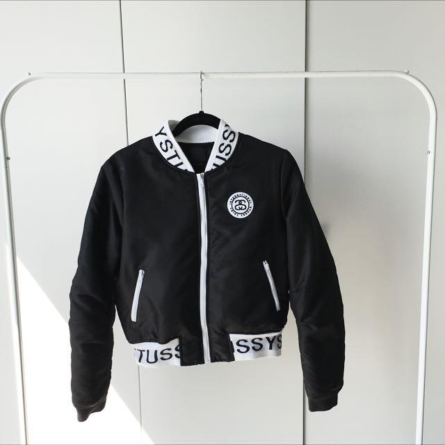 Stussy Black Bomber Jacket