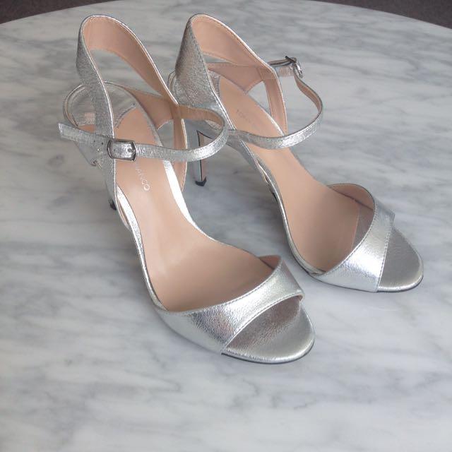 Tony Bianco Silver Heels Size 8