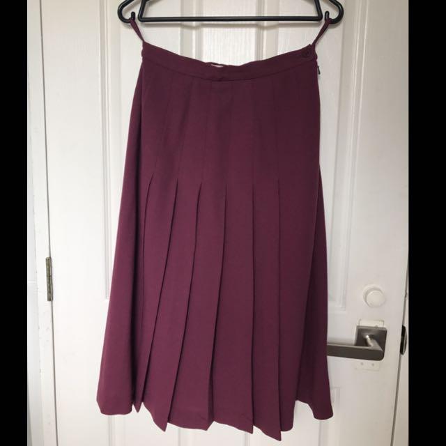 Vintage Maroon Plaid Skirt