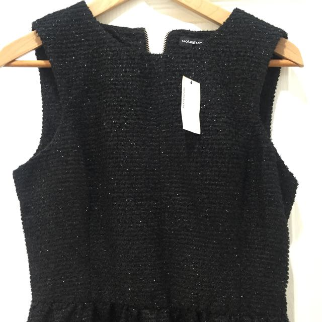 'Warehouse' Black Sparkle Dress 12