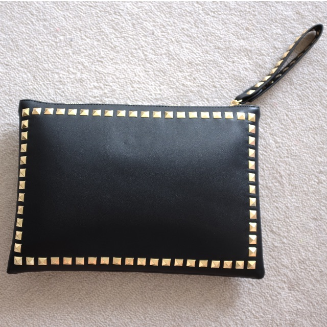 Studded hand bag/pouch/clutch Black