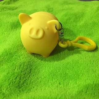黃色迷你豬軟性鑰匙圈