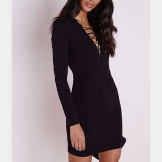 Drawstring Black Dress