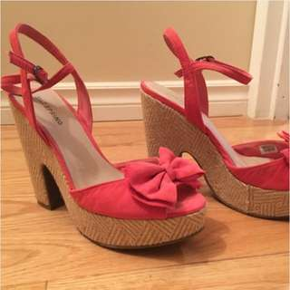 Pink Bow Platform Wedge Shoes
