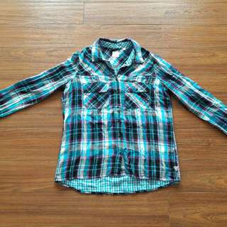 Ladies Guess Checkered Long Sleeves Polo (Used)