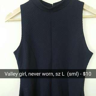 Valley girl Navy Blue Halter Peplum Top