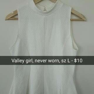 Valleygirl White Halter Peplum Top