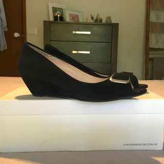 Black Wedge Peep Toes