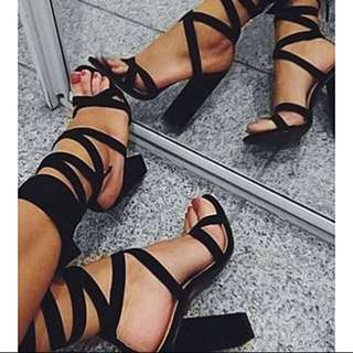 Baby Boo Black Tie Up High Heels Size 8