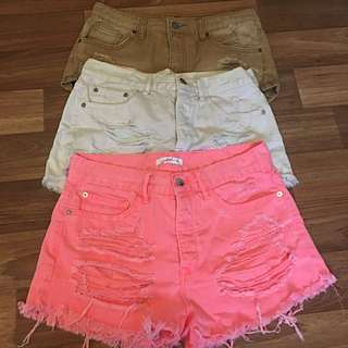 Three Supré Ripped Booty Shorts