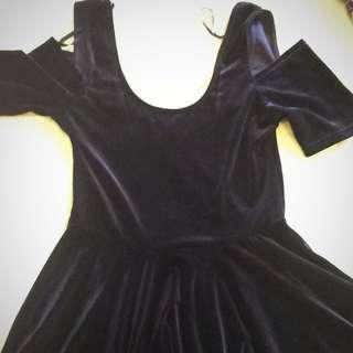Navy Velvet Flare Dress Size Medium BNWT
