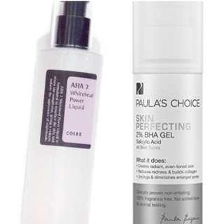 Cosrx AHA 7  +  Paula's Choice BHA 2% Gel