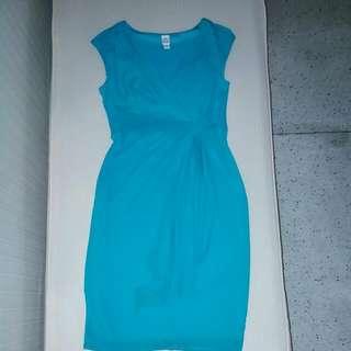 Aqua Overlap Chiffon Dress
