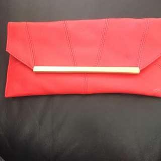 Coral Envelope Clutch