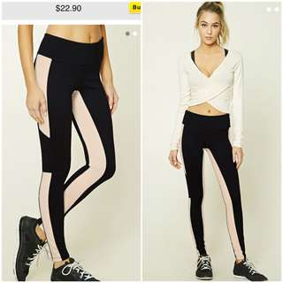 👍SALE BNWT F21 Forever 21 Active Contrast-Paneled Leggings