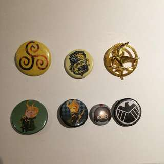 MCU, Hunger Games, Harry Potter, Merlin Pins (J)