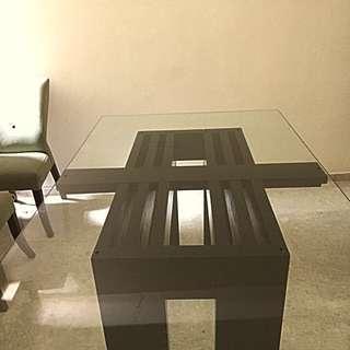 John Erdos 6 Seater Glass And Teak Table